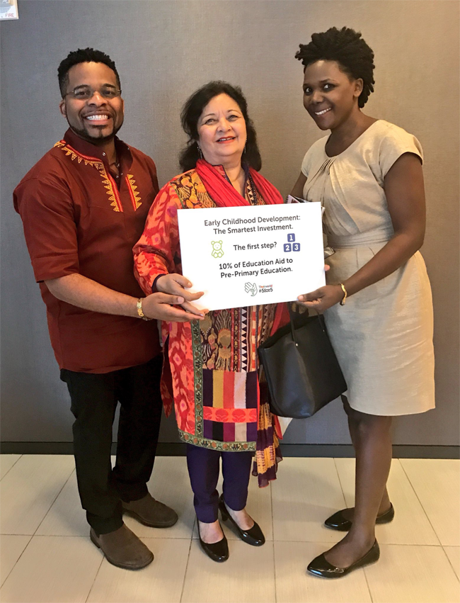 At the UN General Assembly Sept 2017 Baela Raza Jamil (ITA/Education Commissioner) with Global Youth Ambassadors (GYAs) Sylvia Kakyo -Uganda and Joannes Paulus Yimbesalu - Cameroon