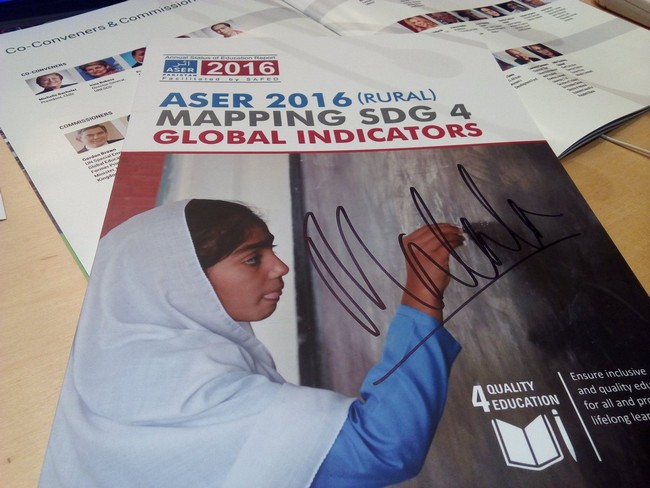 Malala signed ASER Pakistan SDG4 tracking card at the UNGA Ecosoc session